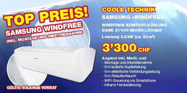 Aktion Samsung Windfree Klimaservice Widmer