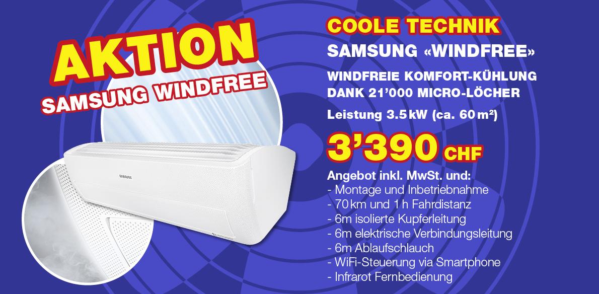 Aktion Samsung Windfree Klimaanlage, Klimaservice Widmer Wettingen